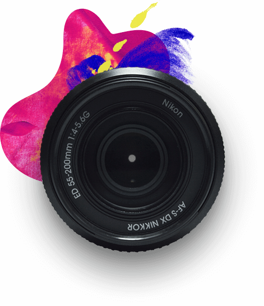 camera lens with a splash of paint